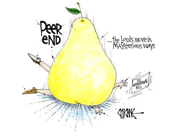 "Peer End cartoon, a pear lands on Theresa May, with caption ""the Lords work in mysterious ways"""