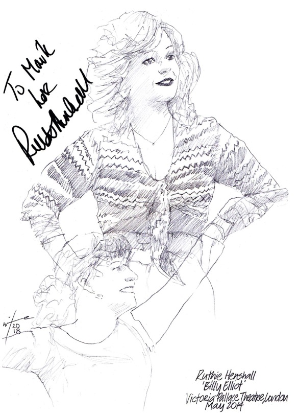Autographed drawing of Ruthie Henshall in Billy Elliot The Musical at the Victoria Palace Theatre on London's West End