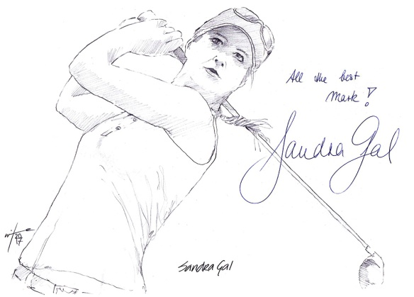 Autographed drawing of golfer Sandra Gal