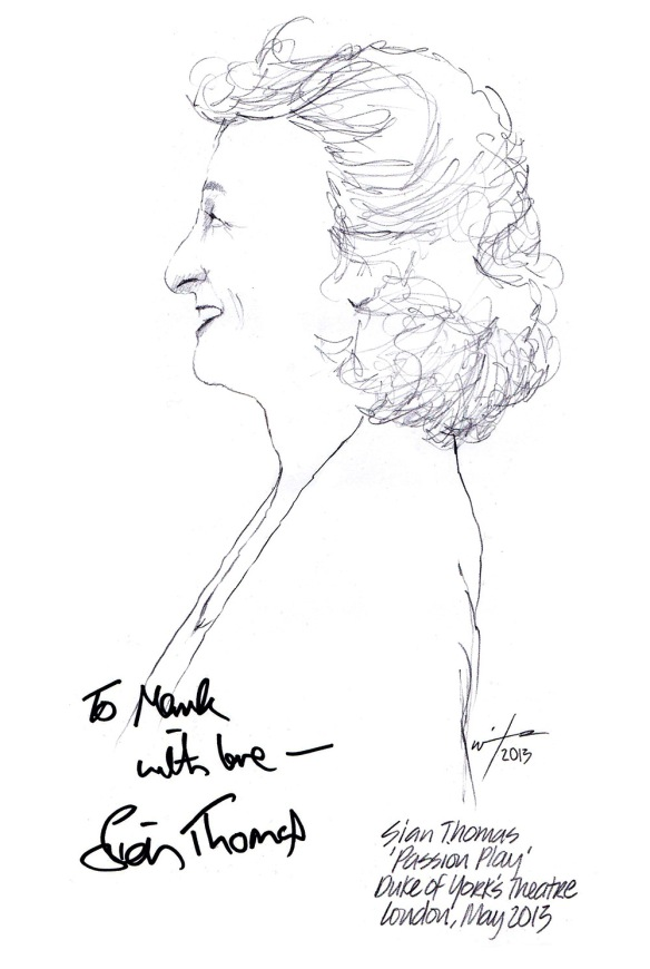 Autographed drawing of Sian Thomas in Passion Play at the Duke of York's Theatre on London's West End