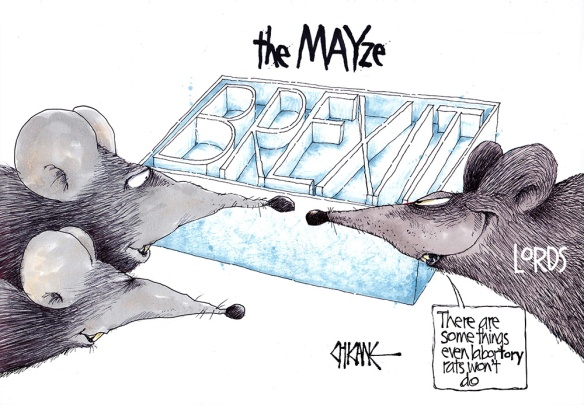 "Cartoon captioned ""the Mayze"" with rats representing the House of Lords looking at a maze that makes of the words ""BREXIT"""