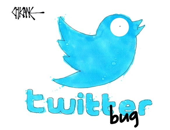 Twitter Bug cartoon with a shocked Twitter Bird logo