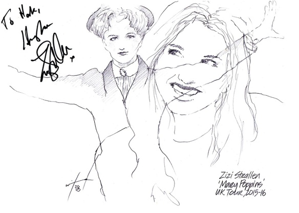 Autographed drawing of Zizi Strallen in Mary Poppins on UK Tour