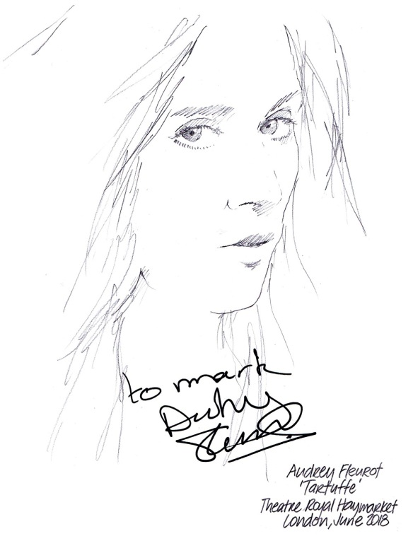 Autographed drawing of Audrey Fleurot in Tartuffe at the Theatre Royal Haymarket on London's West End