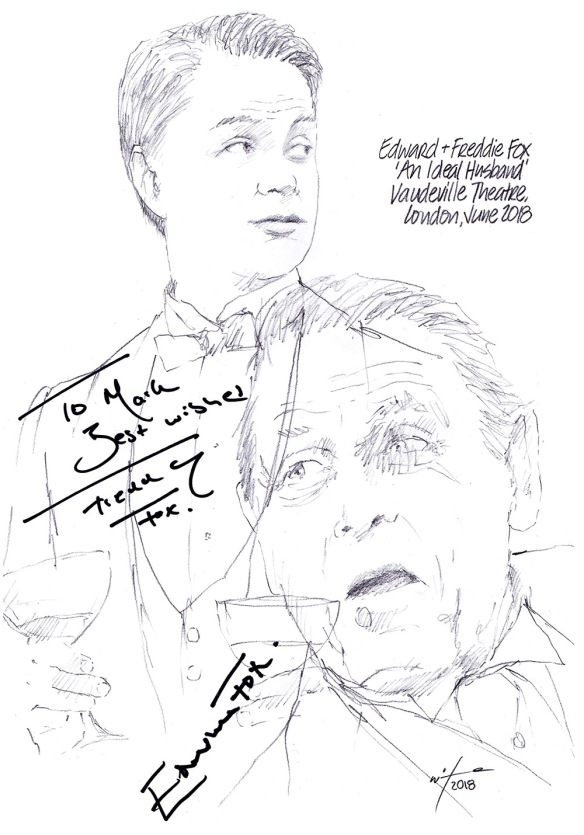 Autographed drawing of Edward Fox and Freddie Fox in An Ideal Husband at the Vaudeville Theatre on London's West End