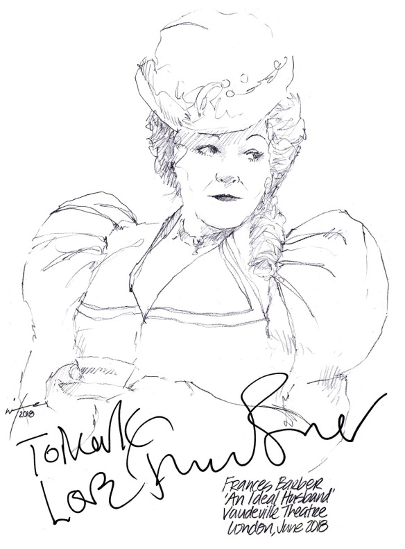 Autographed drawing of Frances Barber in An Ideal Husband at the Vaudeville Theatre on London's West End