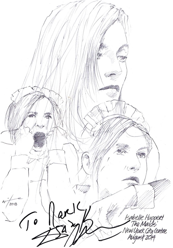 Autographed drawing of Isabelle Huppert in The Maids at the New York City Centre in August 2014
