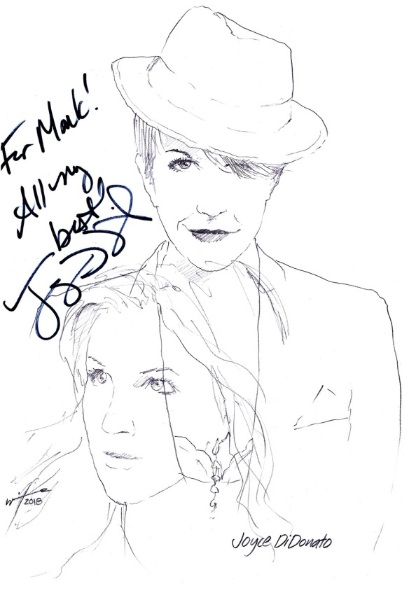 Autographed drawing of opera singer Joyce DiDonato