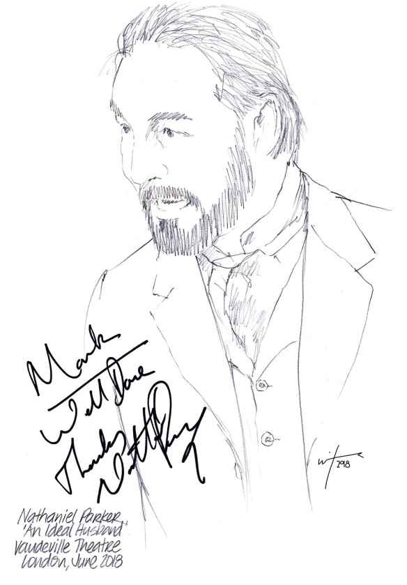 Autographed drawing of Nathaniel Parker in An Ideal Husband at the Vaudeville Theatre on London's West End