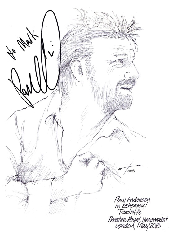Autographed drawing of Paul Anderson in Tartuffe at Theatre Royal Haymarket on London's West End