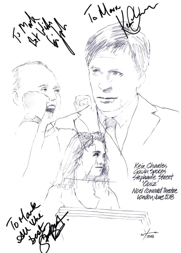 Autographed drawing of Keir Charles, Gavin Spokes and Stephanie Street in Quiz at the Noel Coward Theatre on London's West End