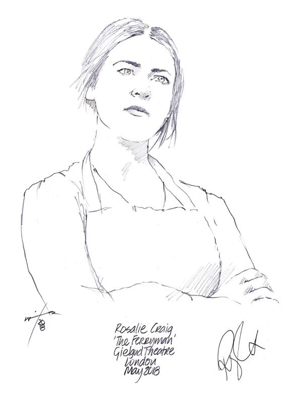 Autographed drawing of Rosalie Craig in The Ferryman at the Gielgud Theatre on London's West End