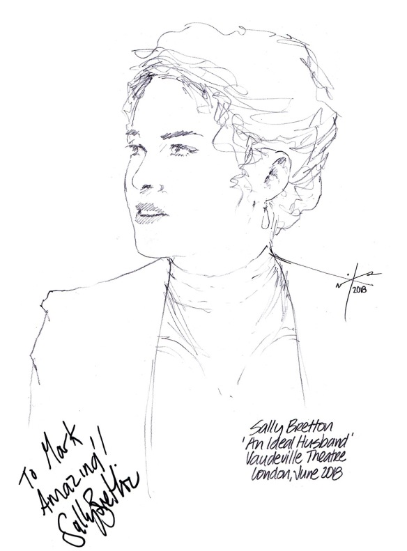 Autographed drawing of Sally Bretton in An Ideal Husband at the Vaudeville Theatre on London's West End