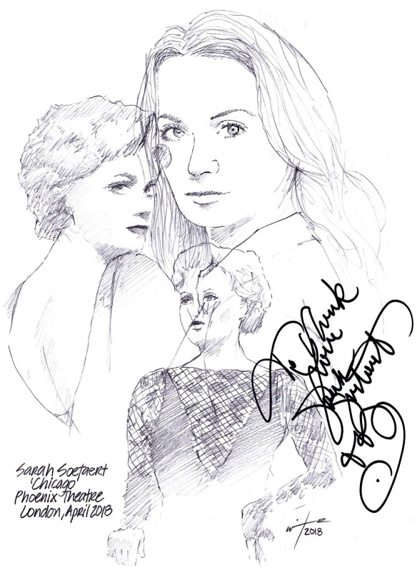 Autographed drawing of Sarah Soetaert in Chicago at the Phoenix Theatre on London's West End