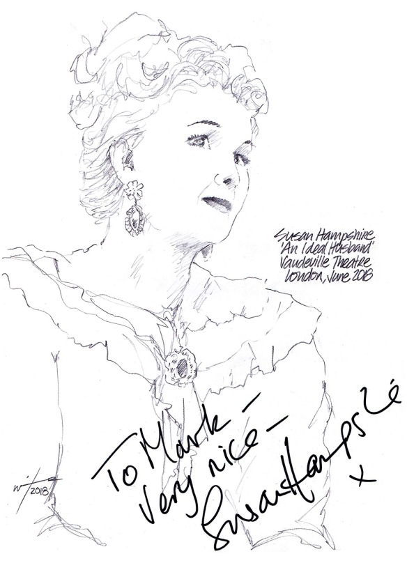 Autographed drawing of Susan Hampshire in An Ideal Husband at the Vaudeville Theatre on London's West End