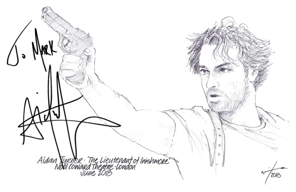 Autographed drawing of Aidan Turner in The Lieutenant of Inishmore at the Noel Coward Theatre in London's West End
