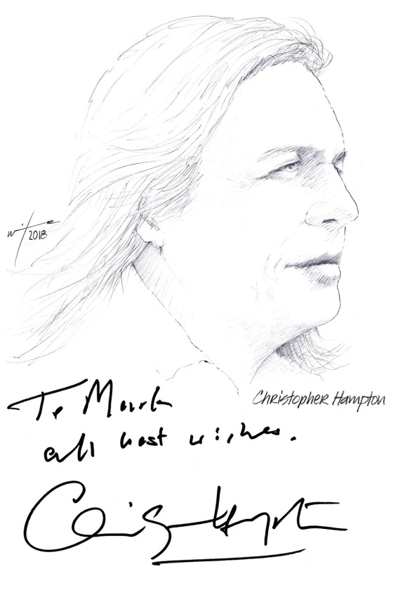 Autographed drawing of writer Chris Hampton