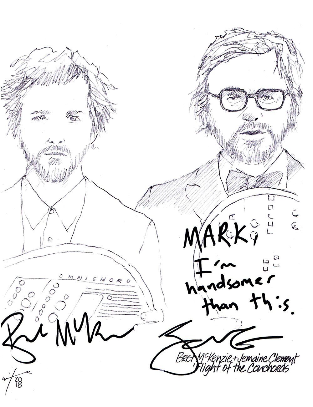Autographed drawing of Bret McKenzie and Jemaine Clement Flight Of The Conchords