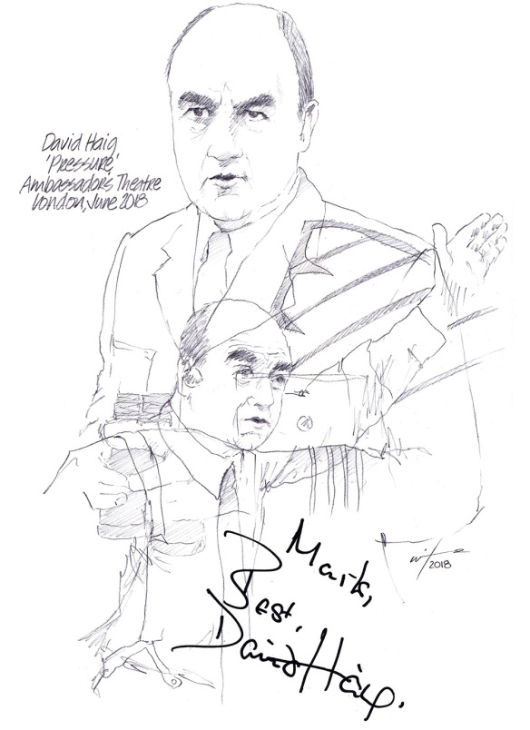 Autographed drawing of David Haig in Pressure at the Ambassadors Theatre on London's West End