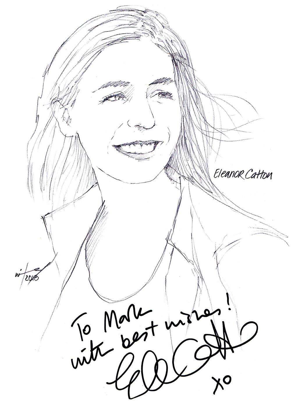 Autographed drawing of author Eleanor Catton