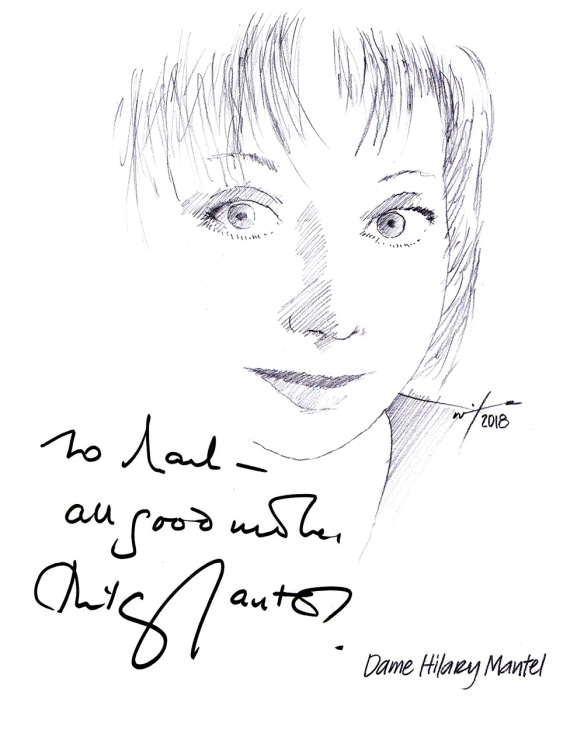 Autographed drawing of author Hilary Mantel