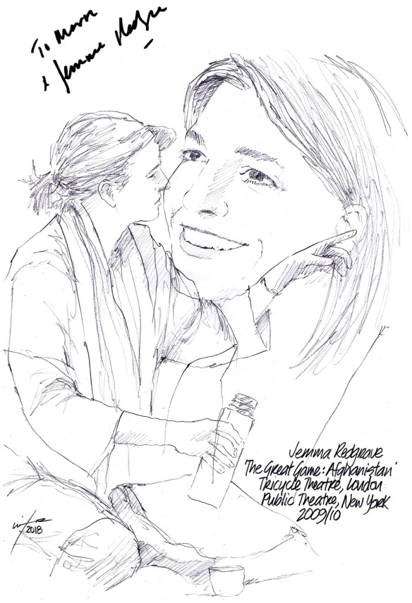 Autographed drawing of Jemma Redgrave in The Great Game: Afghanistan at the Tricycle Theatre in London and Public Theater in New York