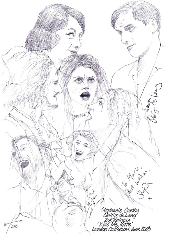 Autographed drawing of Stephanie Corley, Quirijn deLang and Zoe Rainey in Kiss Me Kate at the London Coliseum