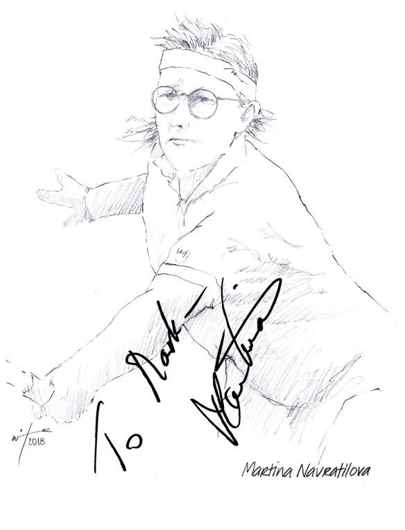 Autographed drawing of tennis player Martina Navratilova