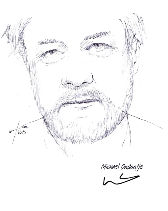 Autographed drawing of author Michael Ondaatje