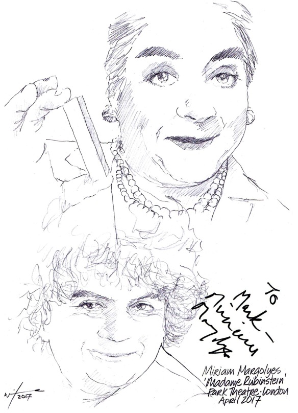 Autographed drawing of Miriam Margoyles in Madame Rubinstein at the Park Theatre in London