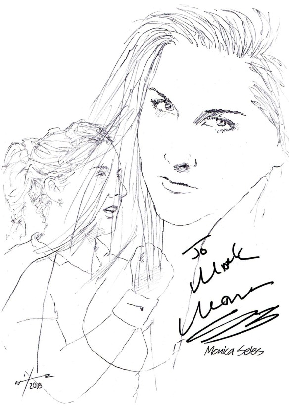 Autographed drawing of tennis player Monica Seles