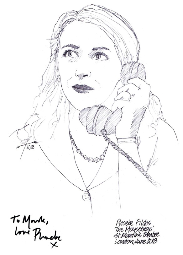 Autographed drawing of Phoebe Fildes in The Mousetrap at St Martin's Theatre on London's West End