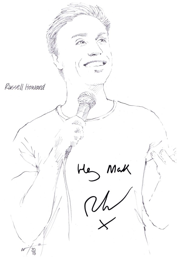Autographed drawing of comedian Russell Howard