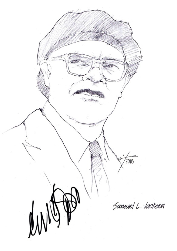 Autographed drawing of actor Samuel L Jackson
