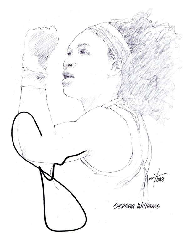 Autographed drawing of tennis player Serena Williams