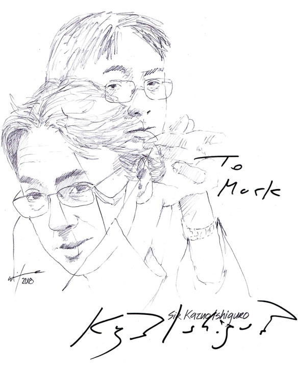 Autographed drawing of author Sir Kazuo Ishiguro