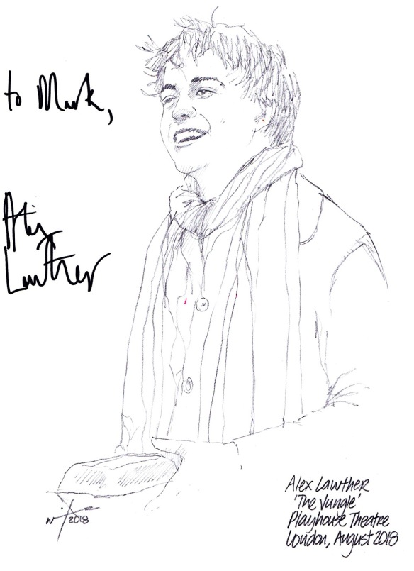 Autographed drawing of Alex Lawther in The Jungle at the Playhouse Theatre on London's West End