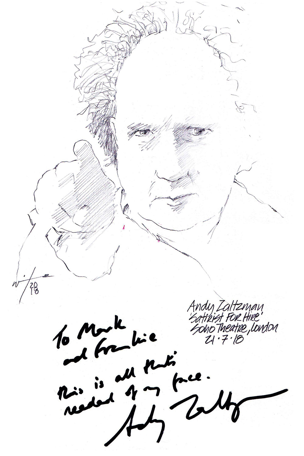 Autographed drawing of comedian Andy Zaltzman