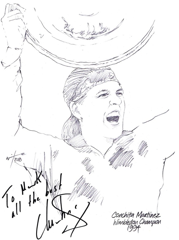 Autographed drawing of tennis player Conchita Martinez
