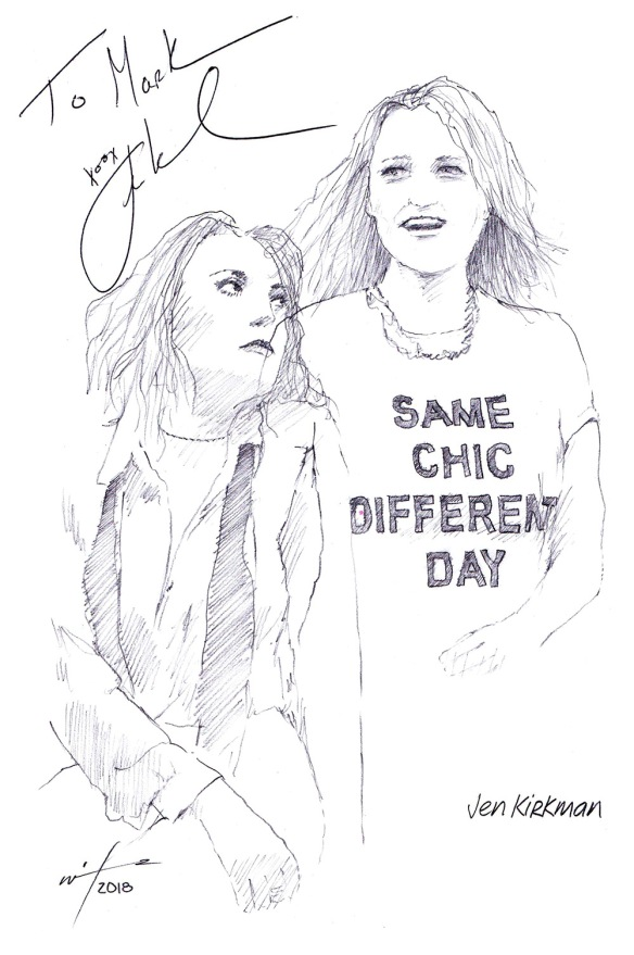 Autographed drawing of comedian Jen Kirkman