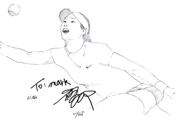 Autographed drawing of tennis player Li Na