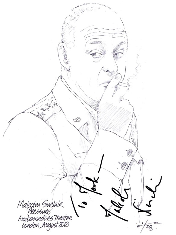 Autographed drawing of Malcolm Sinclair in Pressure at the Ambassadors Theatre on London's West End