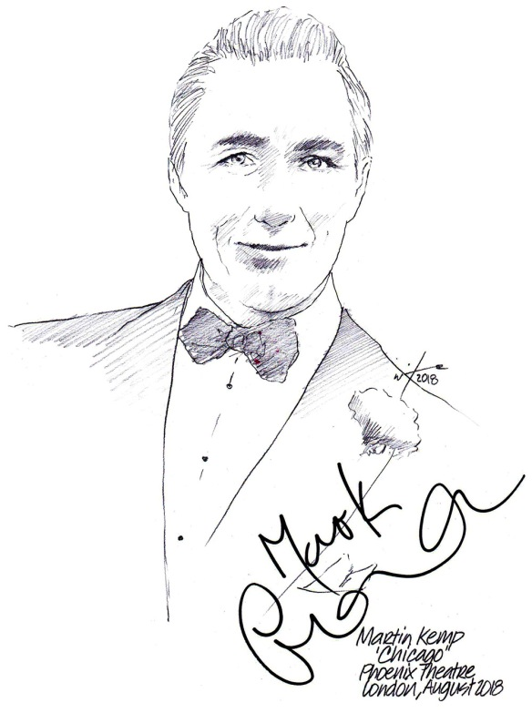 Autographed drawing of Martin Kemp in Chicago at the Phoenix Theatre on London's West End