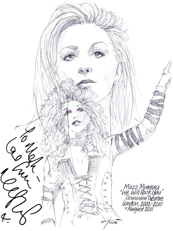Autographed drawing of Mazz Murray in We Will Rock You at the Dominion Theatre on London's West End