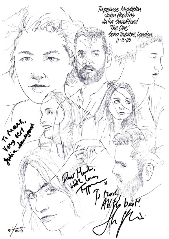 Autographed drawing of Tuppence Middleton, John Hopkins and Julia Sandiford in The One at the Soho Theatre in London's West End