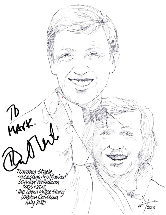 Autographed drawing of Tommy Steele in Scrooge: The Musical at the London Palladium and in The Glen Miller Story at the London Coliseum