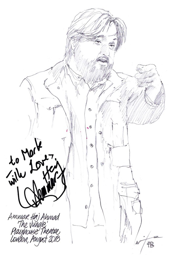 Autographed drawing of Ammar Haj Ahmad in The Jungle at The Playhouse Theatre on London's West End