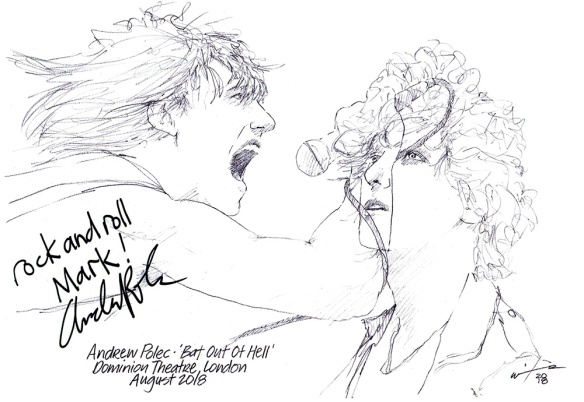 Autographed drawing of Andrew Polec in Bat Out Of Hell at the Dominion Theatre on London's West End