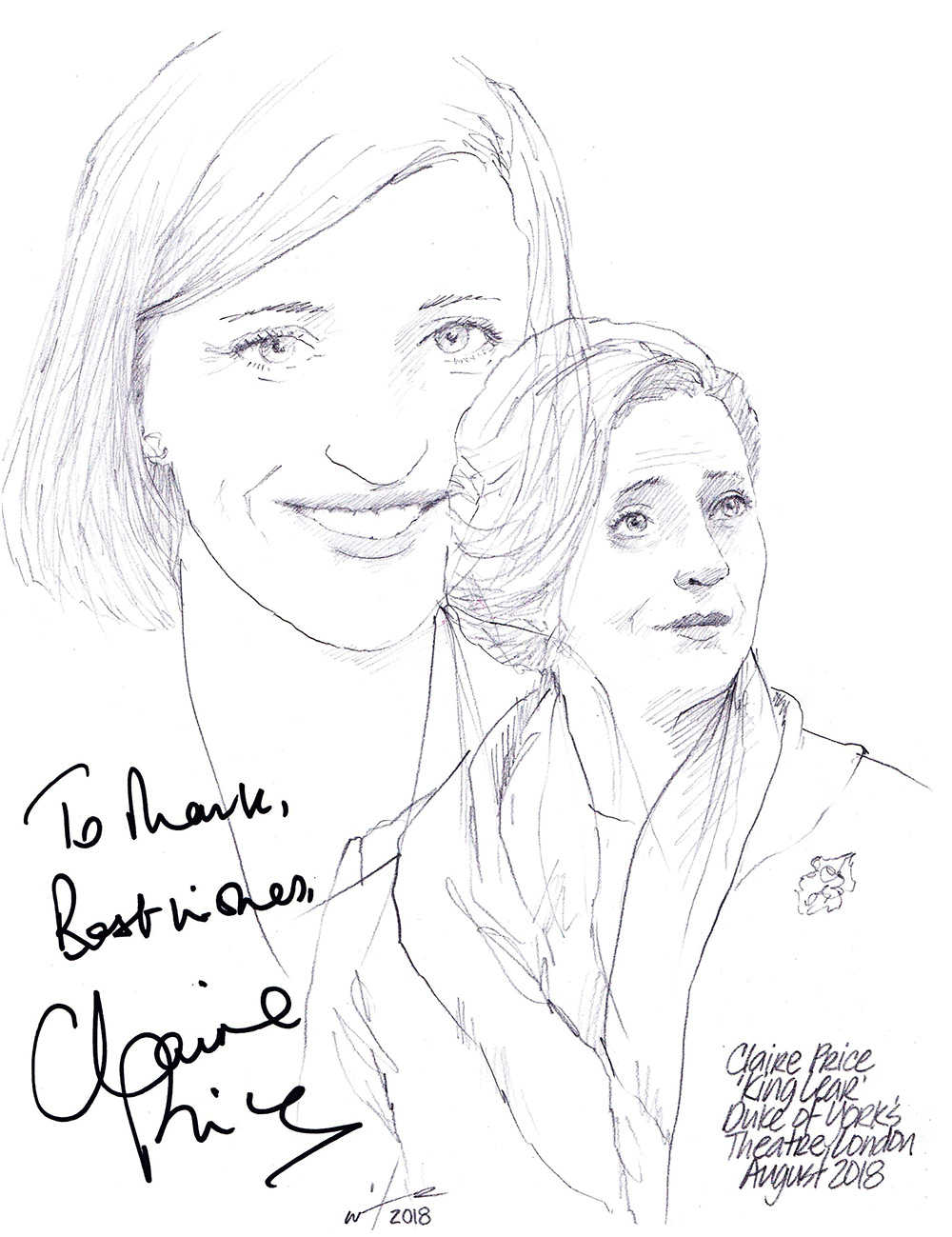 Autographed drawing of Claire Price in King Lear at the Duke of York's Theatre on London's West End