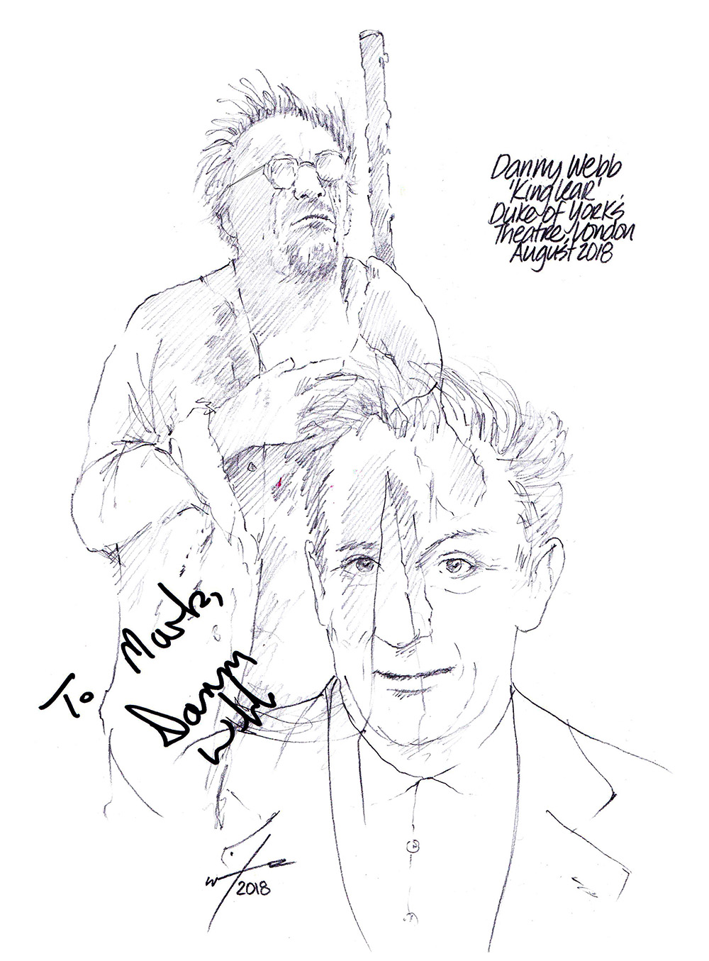 Autographed drawing of Danny Webb in King Lear at the Duke of York's Theatre on London's West End